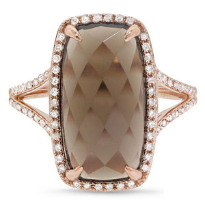 Diamond & 6.23ct Smokey Topaz 14k Rose Gold Ring - 0.23ct