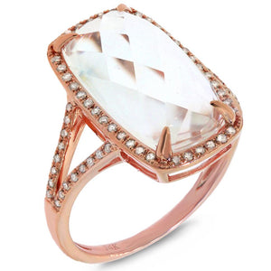 Diamond & 6.10ct White Topaz 14k Rose Gold Ring - 0.23ct