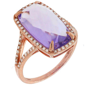 Diamond & 6.03ct Amethyst 14k Rose Gold Ring - 0.23ct
