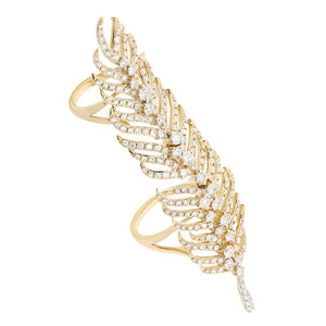 14k Yellow Gold Diamond Feather Ring - 2.65ct
