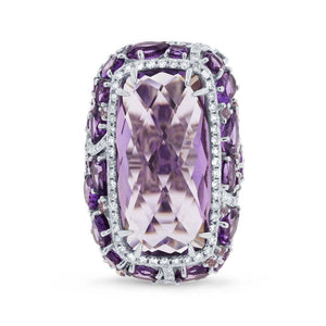 Diamond & 20.84ct Amethyst & Purple Sapphire 14k White Gold Ring - 0.56ct
