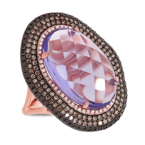 White, Champagne & Black Diamond & 11.21ct Amethyst 14k Rose Gold Ring - 1.32ct