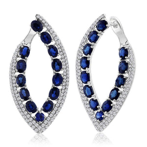 Diamond & 6.33ct Blue Sapphire 14k White Gold Earring - 1.13ct