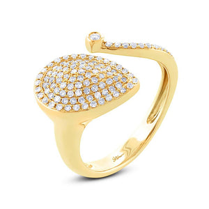14k Yellow Gold Diamond Pave Lady's Ring - 0.44ct