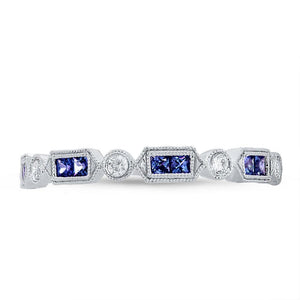 Diamond & 0.42ct Blue Sapphire 14k White Gold Lady's Ring - 0.21ct