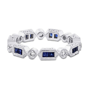 Diamond & 0.47ct Blue Sapphire 14k White Gold Diamond Eternity Band Size 4.5 - 0.33ct