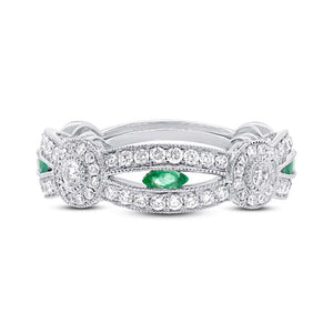 Diamond & 0.25ct Emerald 14k White Gold Lady's Ring - 0.82ct