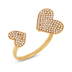 14k Yellow Gold Diamond Pave Heart Ring Size 8 - 0.33ct