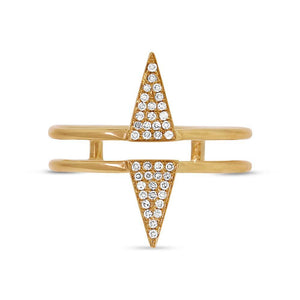 14k Yellow Gold Diamond Pave Triangle Ring - 0.11ct