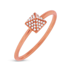 14k Rose Gold Diamond Pave Pyramid Ring Size 5 - 0.08ct