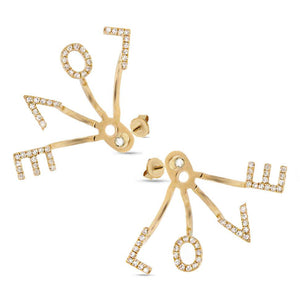 14k Yellow Gold Diamond ''Love'' Ear Jacket Earring with Studs