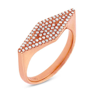 14k Rose Gold Diamond Pave Lady's Ring Size 5.5 - 0.25ct