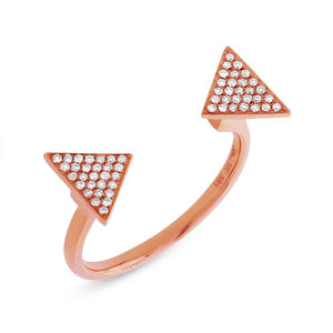 14k Rose Gold Diamond Pave Triangle Ring - 0.17ct