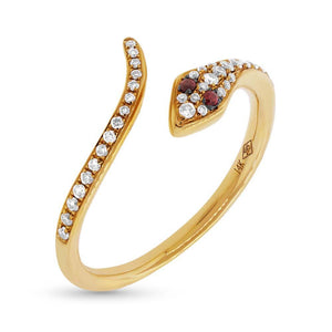 Diamond & 0.03ct Ruby 14k Yellow Gold Snake Ring Size 3