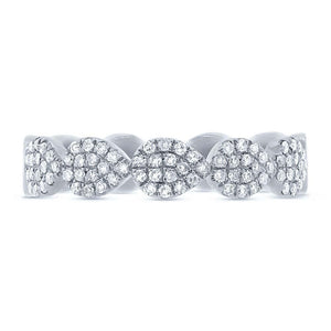 14k White Gold Diamond Pave Lady's Ring Size 6.25 - 0.25ct