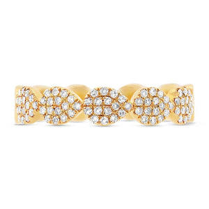 14k Yellow Gold Diamond Pave Lady's Ring Size 6 - 0.25ct