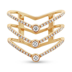 14k Yellow Gold Diamond Lady's Ring Size 6 - 0.30ct