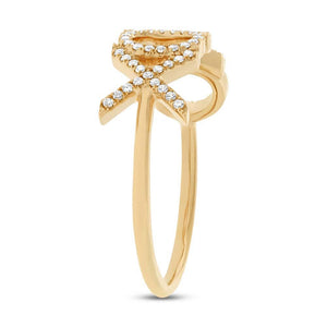 14k Yellow Gold Diamond ''XOXO'' Ring - 0.18ct
