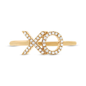 14k Yellow Gold Diamond ''XO'' Ring Size 5 - 0.09ct