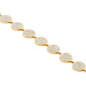 14k Yellow Gold Diamond Pave Circle Bracelet - 1.33ct