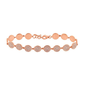 14k Rose Gold Diamond Pave Circle Bracelet - 1.33ct