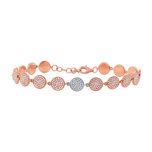 14k Two-tone Rose Gold Diamond Pave Circle Bracelet - 1.33ct