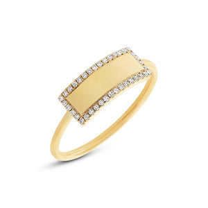 14k Yellow Gold Diamond Bar ID Ring Size 4
