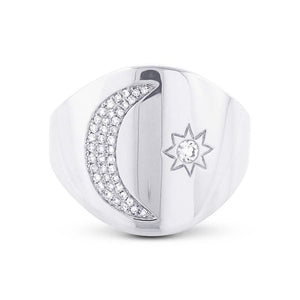 14k White Gold Diamond Sun & Moon Ring - 0.16ct