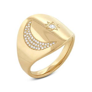 14k Yellow Gold Diamond Sun & Moon Ring - 0.16ct