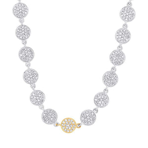 14k Two-tone Gold Diamond Pave Circle Necklace - 0.89ct