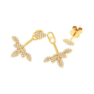 14k Yellow Gold Diamond Leaf Earring Jacket with Stud