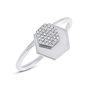14k White Gold Diamond Hexagon Ring - 0.08ct