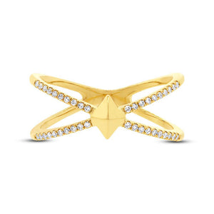 14k Yellow Gold Diamond Lady's Ring - 0.12ct