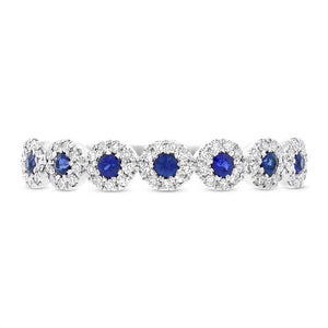 Diamond & 0.20ct Blue Sapphire 14k White Gold Lady's Band