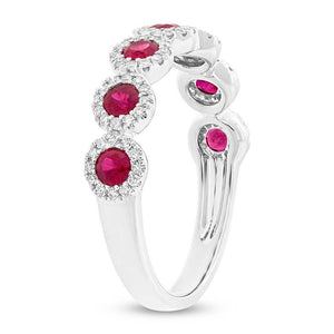 Diamond & 0.70ct Ruby 14k White Gold Lady's Band