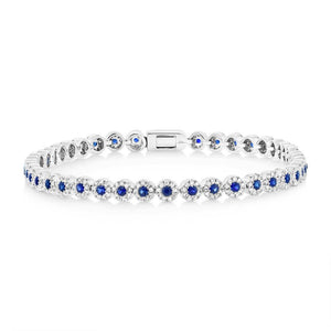 Diamond & 1.25ct Blue Sapphire 14k White Gold Lady's Bracelet - 1.08ct