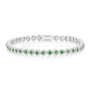 Diamond & 1.48ct Green Garnet 14k White Gold Lady's Bracelet - 1.08ct
