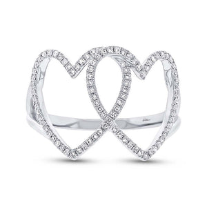14k White Gold Diamond Hearts Ring - 0.21ct