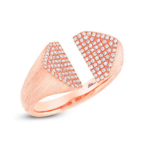 14k Rose Gold Diamond Pave Lady's Ring - 0.27ct