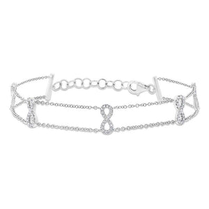 14k White Gold Diamond Ribbon Bow Bracelet - 0.25ct