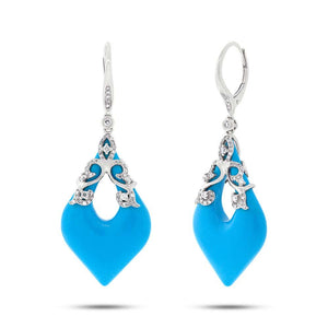 Diamond & 15.68ct Composite Turquoise 14k White Gold Earring - 0.46ct