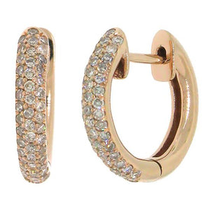 14k Rose Gold Diamond Huggie Earring