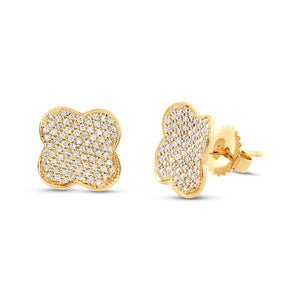 14k Yellow Gold Diamond Pave Clover Earring - 0.53ct