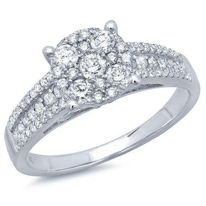 14k White Gold Diamond Lady's Ring - 0.75ct