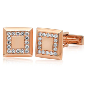14k Rose Gold Diamond Cuff Links - 0.82ct