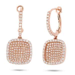 18k Rose Gold Diamond Pave Drop Earring - 1.00ct