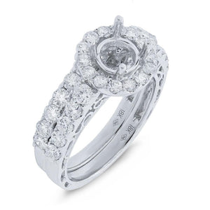 18k White Gold Diamond Semi-Mount Ring 2-pc - 1.64ct