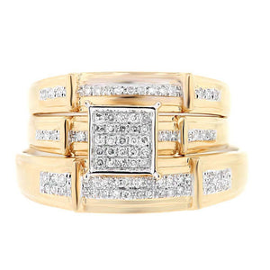 14k Yellow Gold Diamond Trio Set Pave - 0.25ct