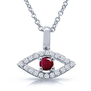 Diamond & 0.09ct Ruby 14k White Gold Eye Pendant