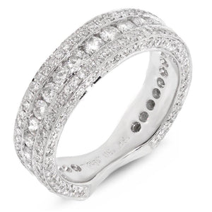 18k White Gold Diamond Lady's Band Size 6.5 - 1.75ct